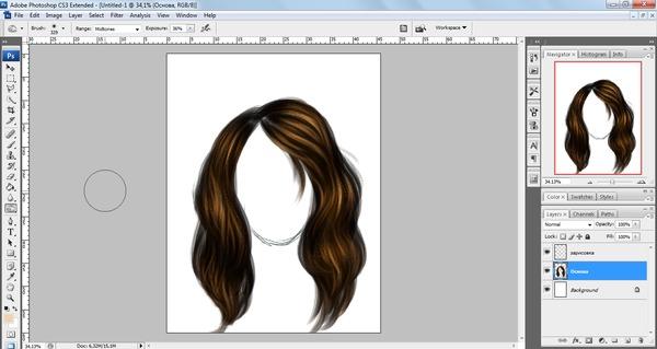 Как рисовать волосы в фотошопе кистями